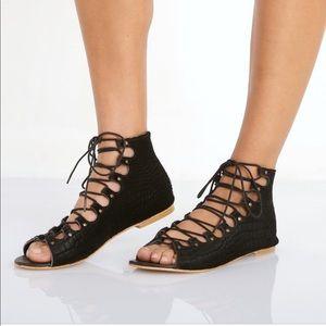 MATISSE Anthropologie Exotic Black Lace Up Sandals